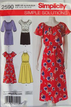 Simplicity 2590 Misses'/Miss Petite Dress in Two Lengths with Skirt Variations
