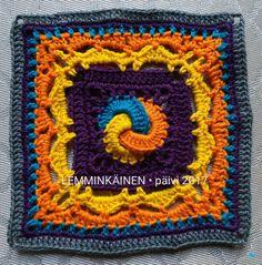 Part7: LEMMINKÄINEN. Designed by Mirva Nikkanen. Crocheted by Päivi M Crochet Bunting, Crochet Afghans, Crochet Squares, Crochet Granny, Granny Squares, Crochet Motif, Knit Crochet, Foundation Piecing, Different Patterns