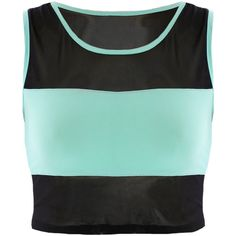 Mesh Blocking Crop Top, Mint ($12) ❤ liked on Polyvore featuring tops, crop top, items and shirts
