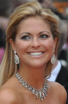 Princess Madeleine of Sweden wearing the Modern Fringe tiara as a necklace.
