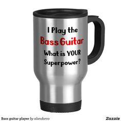 Bass guitar player 15 oz stainless steel travel mug