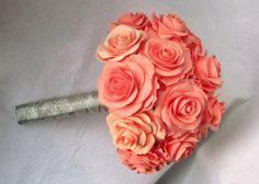 Salmon rose wedding - Bridal bouquet- dark coral | FlowersofSharon - Wedding on ArtFire