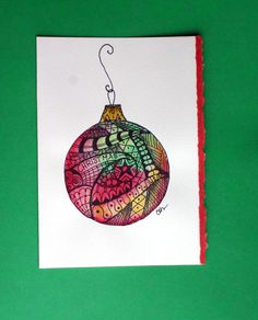 Zentangle artNo 50 watercolor card Christmas by ArtworksEclectic