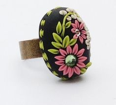 Handmade Floral Cabochon cocktail Ring Black by PiperPixieDesigns, $20.00