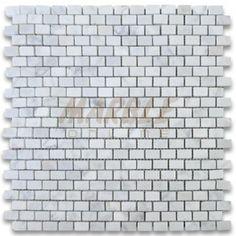 Carrara Marble Tile Italian White Carrera 5/8x3/4 Mini Brick Mosaic Honed