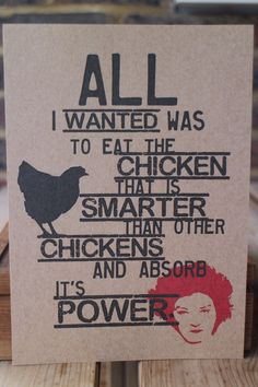 Orange is the new black A5 chicken print.  by DonaldsDen on Etsy, £8.00