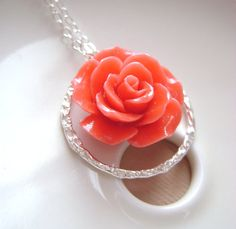 Coral Necklace with Eternity ring and Peach Pink flower, Bridal jewelry, bridesmaids gift, weddign jewelry. via Etsy Rose Jewelry, Bridal Jewelry, All That Glitters, Eternity Ring, Diamond Are A Girls Best Friend, Bridesmaid Gifts, Pink Flowers, Jewelry Ideas, Jewlery