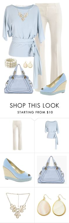 """Pale Blue"" by kp802 ❤ liked on Polyvore featuring Alexander McQueen, Anne Valérie Hash, Sugarfree Shoes, Pim + Larkin, Chloé, Wet Seal, White House Black Market, blue shoes, blue and white and blue bag"