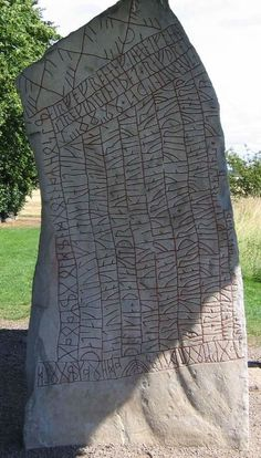 Rök Rune Stone ~ This encrypted monolith protected a secret of Norse mythology by hiding in a church wall for over a millennium.