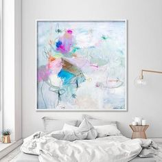 Abstract Painting PRINT, large wall art, Living room abstract art office, Modern White canvas art, Giclee print by AF Duealberi…
