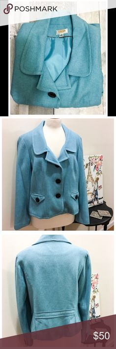 Talbots Blazer Beautiful Talbots Blazer.  Worn only 4 times!!!!  Stunning azure blue color, large buttons accent this well tailored Blazer. 100% Wool. Size16p. Talbots Jackets & Coats Blazers