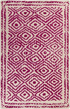 Surya Atlas x Rectangle Wool Hand Knotted Eclectic Area Rug, Size: Beige Area Rugs, Wool Area Rugs, Ivory Rugs, Rug Shapes, Cool Rugs, Decoration, Rugs Online, Magenta, Pink Beige