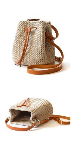 Bucket bag with tassels Crochet shoulder handbag Women everyday textile purse Casual crossbody bucket bag Travel cotton bag Gift fashion Crochet Wool, Diy Crochet, Hand Crochet, Bucket Bag, Mochila Crochet, Diy Bags Purses, Crochet Videos, Cute Bags, Cotton Bag
