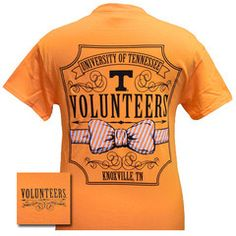 Tennessee Vols Volunteer Class Prep Bow Girlie Bright T Shirt | SimplyCuteTees