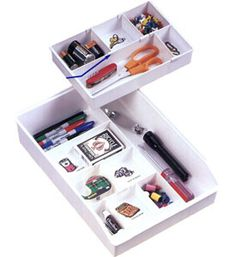 The Clutter Buster Drawer Organizer Tray is a great junk drawer organizer for keeping kitchen and desk drawers neatly organized and free of clutter. This kitchen drawer organizer features movable dividers to allow you to create custom storage to fit your individual needs and includes thirty-five label decals to complet