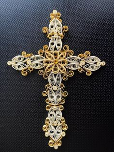 Quilled Holy Cross by Karen Miniaci. Quilling Supplies from 'Quilled Creations'
