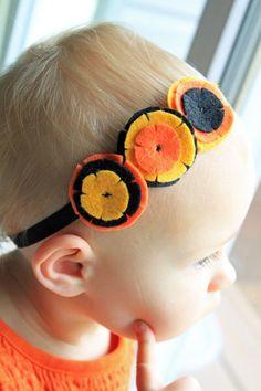 Halloween Headband - Black, Orange, and Pumpkin Felt Hair Accessory