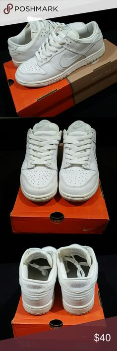 Nike Dunk Low Women: 6, Youth: 4 White with neutral grey bottom. Very clean. Original packaging. Used, but still in GREAT condition. Youth size 4, women's size 6. Nike Shoes Sneakers