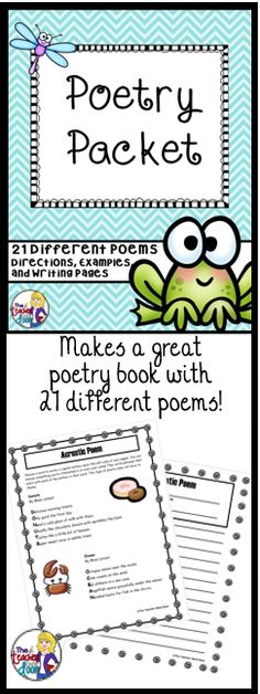 Complete unit with directions and examples of 21 kid friendly poetry types. Detailed Teacher Notes page included. (TpT Resource)