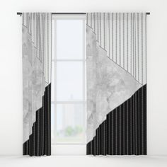 Buy Valencia 1  Abstract black and white geometric pattern. Window Curtains by art_in_life. Worldwide shipping available at Society6.com. Just one of millions of high quality products available.