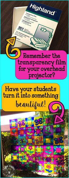 """Recycle in the Classroom. ♺ Don't throw away old transparency film! Have your students practice math facts while they turn it into a """"stained glass"""" window!!"""