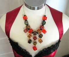 Lucite Resin Vintage Dice Bib Necklace Sterling Silver Chain / 1940's - 50's Las Vegas / Gambling Theme Jewelry Red Blue Gold Green Black by DutchUncleVintage on Etsy
