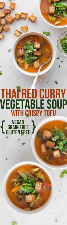 Thai Red Curry Vegetable Soup #soup #vegan #plantbased #easydinner