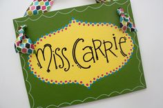 8x10 personalized teacher name sign by staceyfoster on Etsy, $20.00