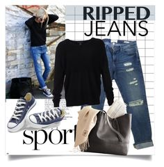 """""""Ripped Jeans"""" by clotheshawg ❤ liked on Polyvore featuring Frame Denim, Scoop and Converse"""