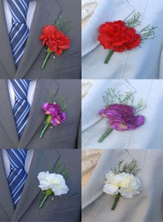 Silk Carnation Wedding Day Onholes Shown In Three Colours Red Ivory And Claret Sarah S Flowers Guest