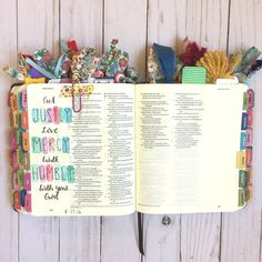 A Journaling Bible is a Bible specifically made for note-taking and journaling. They have thicker pages than a normal bible and wide margins (or full blank pages)!