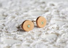 Minimalist natural wooden earrings small delicate by MyPieceOfWood, $14.00