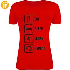 Eat Sleep Learn Repeat Funny School Graphic Womens T-Shirt Large (*Partner-Link)