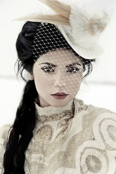The Dorcas - Victorian Bridal Top Hat with Bird, by Topsy Turvy Design