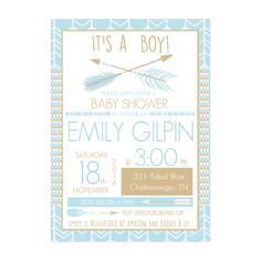 Personalized Tribal Arrows in Blue Baby Shower Invitations and Envelopes One Dozen Printed for Baby Boys NV311 by HeadsUpGirls on Etsy
