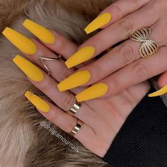 Coffin Nail Designs Yellow Matte Long - Autumn & Winter Nails Impressive Pretty Nails You Always Wan Winter Nail Designs, Nail Polish Designs, Acrylic Nail Designs, Nails Design, Gel Polish, Acrylic Nail Shapes, Cute Acrylic Nails, Trendy Nails 2019, Simple Fall Nails