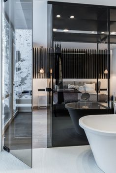 Glass partition wall between bathroom and bedroom// #bathroom