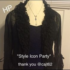 Black sheer party shirt.            HP 10/27/16 Makes a great addition to a formal dress or casual wear with jeans. Fun and trendy. Long belle sleeves. Can be worn open or buttoned. Perfect condition Dance in paris  Tops