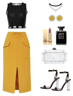 """Ye,ck"" by labozz ❤ liked on Polyvore featuring Opening Ceremony, Topshop, Edie Parker and Yves Saint Laurent"