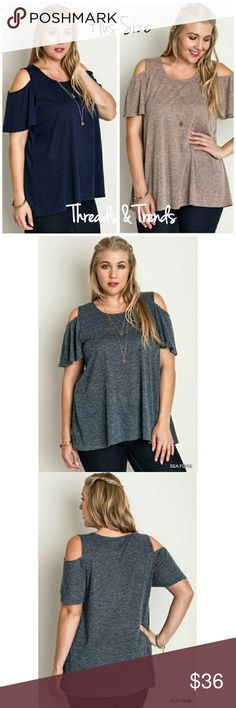 """PLUS SIZE! Cold Shoulder Tunic Top Cold shoulder tunic top...featuring a flounce sleeve.                                                                      Color Sea Foam - Navy - Mocha  XL -  Measurements - Bust 48 """" Stretches to 54 """" Length 29 """" 65 % Cotton 35 %?Polyester  XXL -  Measurements - Bust 50 """" Stretches to 56 """" Length 29 """" 65 % Cotton 35 % Polyester Threads & Trends Tops Blouses"""