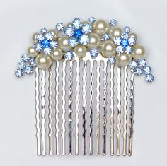 Blue Bridal Hair Comb Wedding Hair Comb by goddessdesignsgems Bridal Comb, Hair Comb Wedding, Wedding Hair Pieces, Bridal Hair, Blue Bridal, Silver Pearls, Bridal Accessories, Wedding Jewelry, Wedding Hairstyles