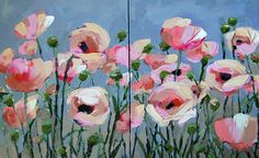 """""""Pink Poppies no. 18 Painting"""" original fine art by Angela Moulton"""