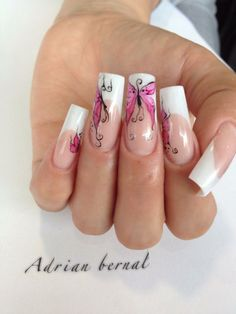 french manicure with butterfly details