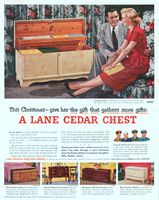Lane Blond Oak Cedar Chest 1951 Ad. Model 2737. Streamlined modern model 2691. Queen Ann Lowboy, model 2682. 18th Century Chest in African M...