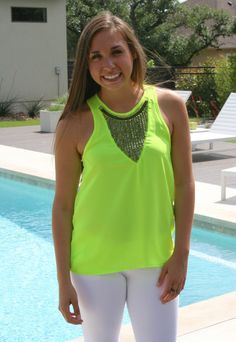 Neon Lime Studded Tank.www.suedeboutique.com
