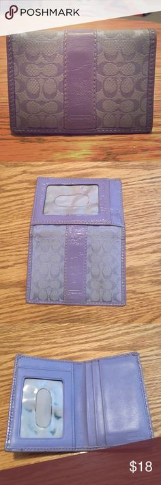 ❗️SALE ❗️Coach, Small Wallet Leather and fabric combo, purple wallet. Total of 7 slots, 2 of which are see through. Only flaw are black smudges on inner see-through ID holder. Coach Bags Wallets