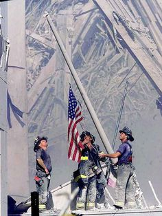 This photo was taken only a few hours after the 9/11 attacks. Three firefighters had used a flag taken off a yacht and hoisted it above the wreckage of the World Trade Center. This is an emotional photo that represents the undefeatable American Spirit. It'a a symbol of defiance in the face of adversity.