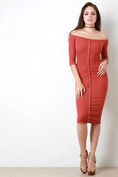 Off-The-Shoulder Snap Front Rib Knit Bodycon Midi Dress