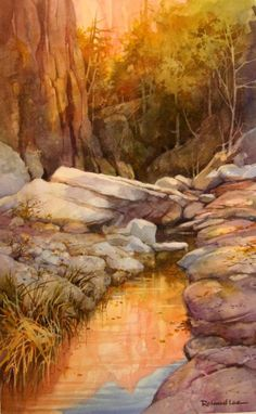 Canyon Reflections , watercolor painting by Roland Lee of a Zion Canyon - Watercolor Paintings by Roland Lee