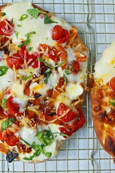 Quick and Easy Veggie Pizza Recipe made with a flatbread crust, creamy mozzarella cheese, roasted summer vegetables, ricotta cheese, and a drizzle of olive oil.